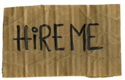 hire me - cardboard sign
