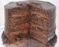 rich chocolate cake cut